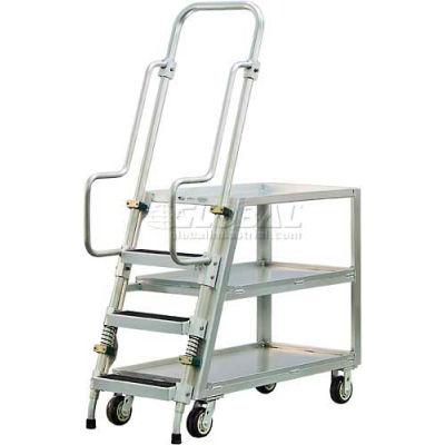 New Age 50061 Aluminum Step Ladder, Stock Picker Cart 3 Tray Shelves