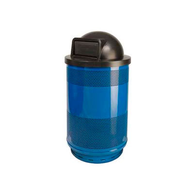 Perforated Stadium Series® Trash Container w/Dome Top - 55 Gallon Blue - SC55-01-BS-DT
