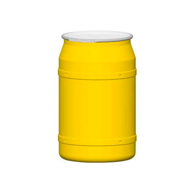 Eagle 55 Gal. Yellow Plastic Open-Head Straight Lab Pack Drum 1656M - Metal Lever Lock