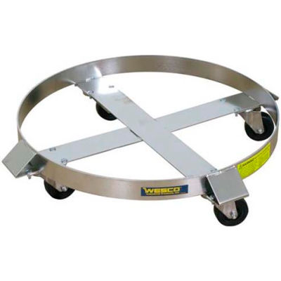 Wesco® Stainless Steel Drum Dolly 240196 55 Gal. Stainless Rigs Hard Rubber