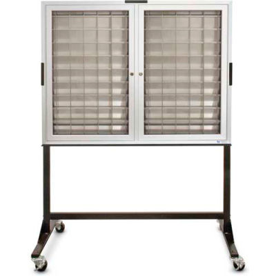 """Aluminum Key & Credit Card Cabinet Mobile Stand, 140 Pockets, 46""""Wx3-1/4""""Dx35""""H"""
