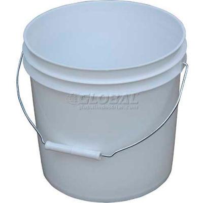 2 Gallon Open Head Plastic Pail PAIL-2-PWS with Steel Handle - White
