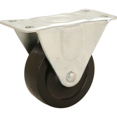 "Global Industrial™ Light Duty Rigid Plate Caster 4"" Rubber Wheel 240 Lb. Capacity"