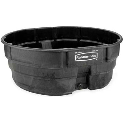 Rubbermaid® Black Commercial Stock Tank, 300 Gallon Capacity