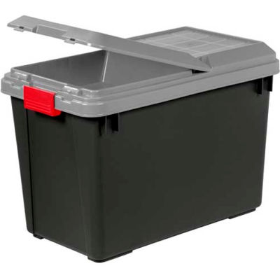 IRIS 250194 Tote Truck With Compartment On Lid, 92.5 Qt. Black With Gray Lid - Pkg Qty 4
