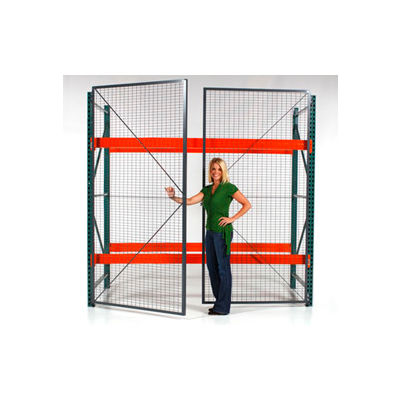 "Wirecrafters - RackBack® Wire Mesh Pallet Rack Enclosure -Hinged Door 96""x144"""