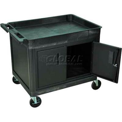 Luxor® TC12C-B Tray Top Shelf Utility Cart with Cabinet 32x24x30