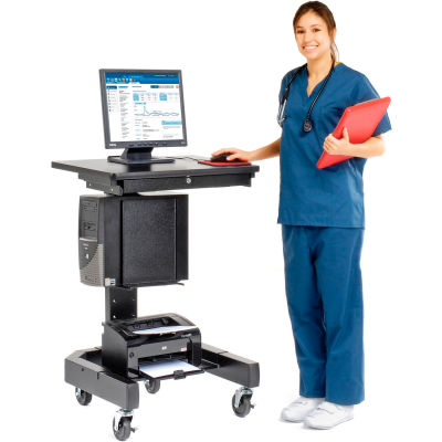 "Global Industrial™ Medical Computer Cart, 27""W x 24-1/2""D x 41""H, Black"