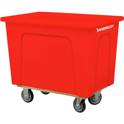 "Wesco® Plastic Box Truck 16 Bushel Red 272521 5"" Casters"