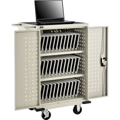 Global Industrial™ Mobile Storage & Charging Cart for 36 iPads & Tablets, Putty, Unassembled