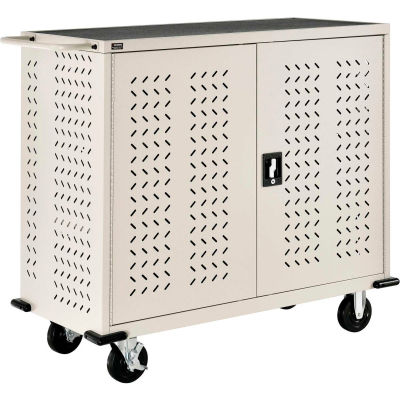 Global Industrial™ Mobile Storage & Charging Cart for 75 iPads & Tablets, Putty, Unassembled