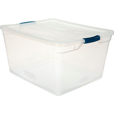 United Solutions Cleverstore Clear Latching Storage Tote w/Lid 71 Quart 23-1/2 x 18-5/8 x 12-1/4 - Pkg Qty 4