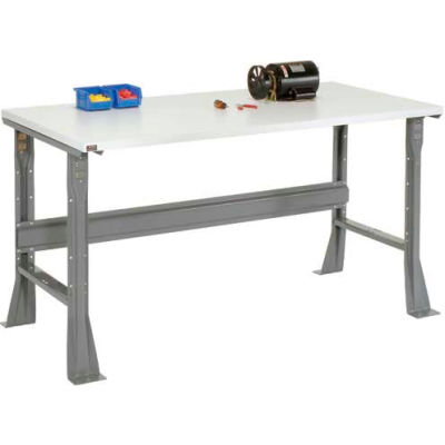 "72""W x 30""D x 34""H Fixed Height Workbench C-Channel Flared Leg - ESD Square Edge - Gray"