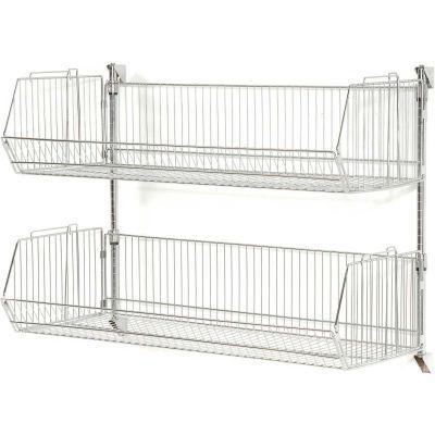 """Wall Mount Basket Kit 48""""W x 20""""D x 12""""H (2 Basket) Chrome"""