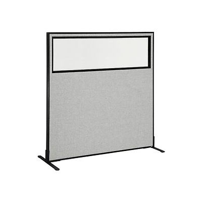 """Freestanding Office Partition Panel with Partial Window, 60-1/4""""W x 60""""H, Gray"""