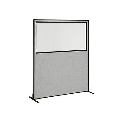 "Freestanding Office Partition Panel with Partial Window, 60-1/4""W x 72""H, Gray"