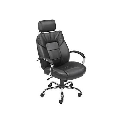 Interion® Big and Tall Executive Chair with Headrest - Leather - High Back - Black