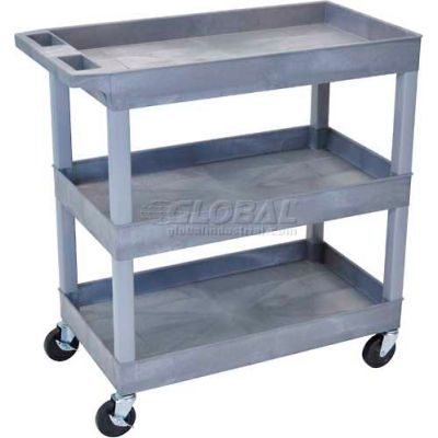 "Luxor® E-Series Plastic Utility Tub Cart, 3 Shelf, 35-1/4""Lx18""Wx36-1/4""H, Gray"