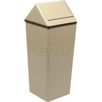 Steel Swing Top Receptacle 13 Gallon 1311HTAL, Almond