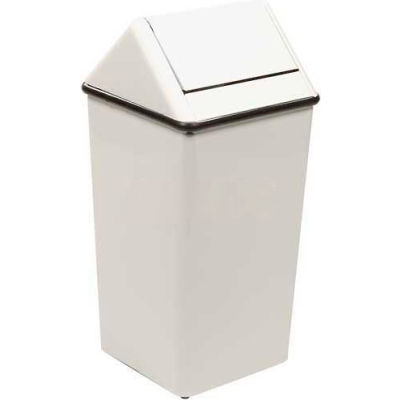 Witt Steel Square Swing Top Trash Can, 21 Gallon, White