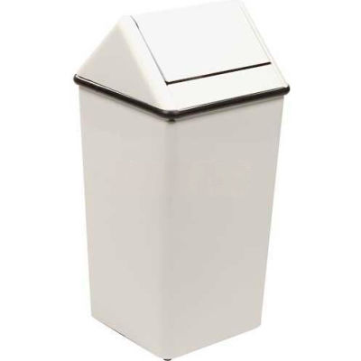 Witt Steel Square Swing Top Trash Can, 36 Gallon, White
