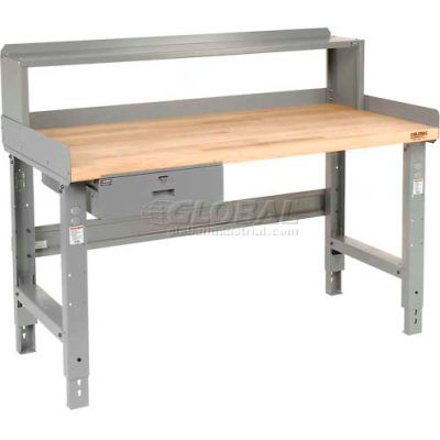 """60""""W x 36""""D Steel Square Edge Top Workbench with Drawer and Riser"""