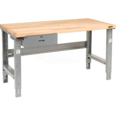 Global Industrial™ 72 x 30 Adj Height Workbench w/Drawer, Plastic Laminate Safety Top - Gray