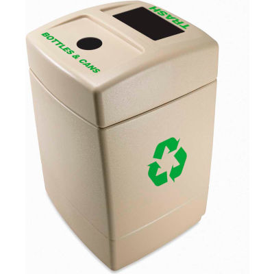 Recycling Plastic Trash Container with Bottles & Cans/Trash Top - 745710