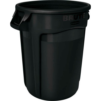 Rubbermaid Brute® Container w/Venting Channels, 32 Gallon - Black 1867531