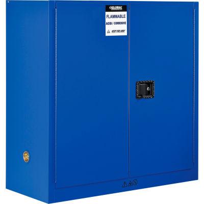 "Global Industrial™ Acid Corrosive Cabinet - 30 Gallon - Manual Close 43""W x 18""D x 44""H"