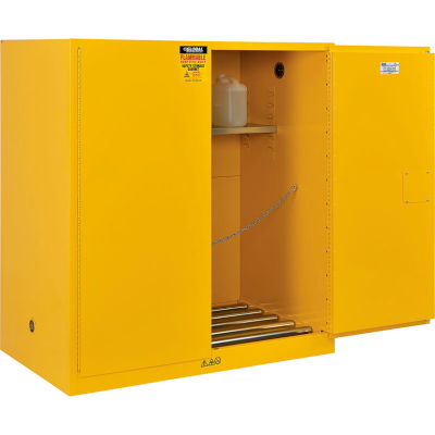 Global Industrial™ 110 Gal Drum Storage Safety Cabinet-Manual Close w/ Rollers