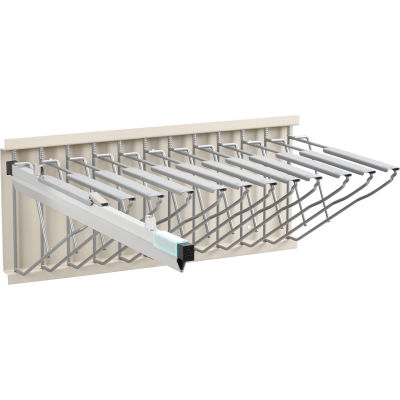 "Interion™ Pivot Wall Mount Blueprint Storage Rack With 12 Hangers & 12 24"" Hanging Clamps"