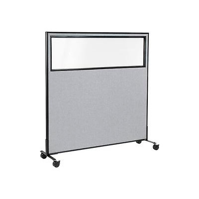 "Interion® Mobile Office Partition Panel with Partial Window, 60-1/4""W x 63""H, Gray"