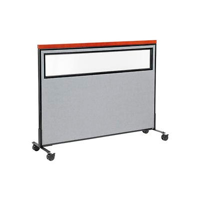 """Interion® Mobile Deluxe Office Partition Panel with Partial Window, 60-1/4""""W x 46-1/2""""H, Gray"""
