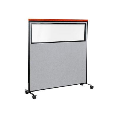 """Interion® Mobile Deluxe Office Partition Panel with Partial Window, 60-1/4""""W x 64-1/2""""H, Gray"""