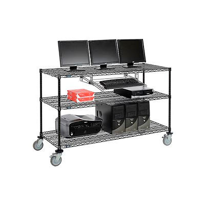 """Nexel™ 3-Shelf Mobile Wire Computer LAN Workstation w/Keyboard Tray, 60""""W x 24""""D x 40""""H, Black"""