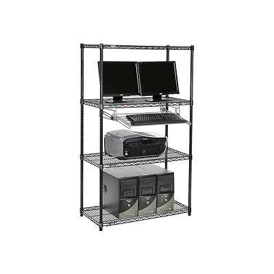 "Nexel™ 4-Shelf Wire Computer LAN Workstation with Keyboard Tray, 36""W x 18""D x 63""H, Black"