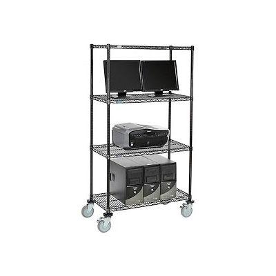 """Nexel™ 4-Shelf Mobile Wire Computer LAN Workstation, 36""""W x 18""""D x 69""""H, Black"""