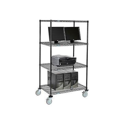 """Nexel™ 4-Shelf Mobile Wire Computer LAN Workstation, 36""""W x 24""""D x 69""""H, Black"""
