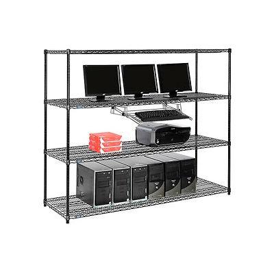 "Nexel™ 4-Shelf Wire Computer LAN Workstation with Keyboard Tray, 72""W x 24""D x 63""H, Black"