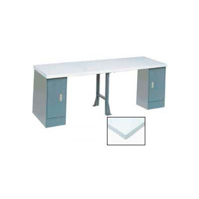 Global Industrial™ 96 x 30 Extra Long Production Workbench - Plastic Laminate Square Edge Gray