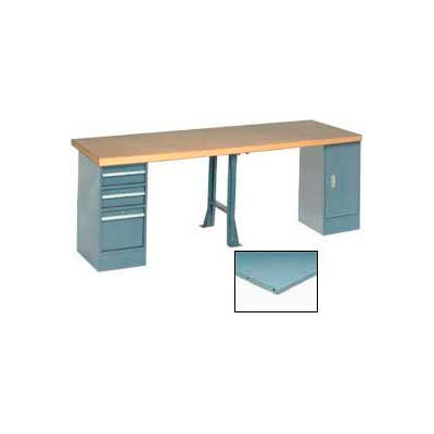 """Global Industrial™ 96""""W x 30""""D Extra Long Production Workbench - Steel Square Edge - Gray"""