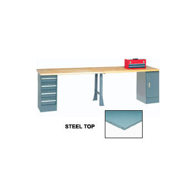 """96""""W x 30""""D Extra Long Production Workbench - Steel Square Edge - Gray"""