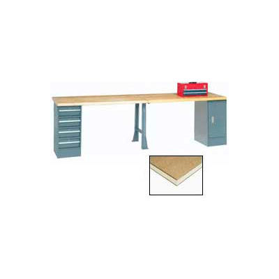 """Global Industrial™ 96""""W x 30""""D Extra Long Production Workbench - Shop Top Square Edge - Gray"""