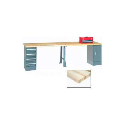 Global Industrial™ 96 x 30 Extra Long Production Workbench - Maple Block Square Edge - Gray