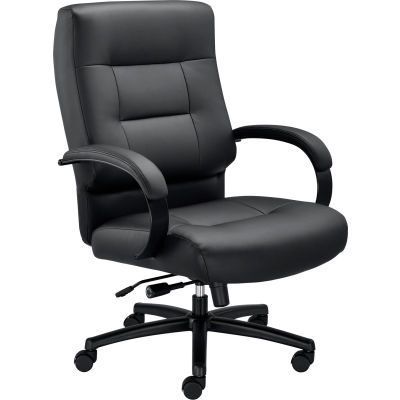 Big and Tall Office Chair - Leather -High Back - Black