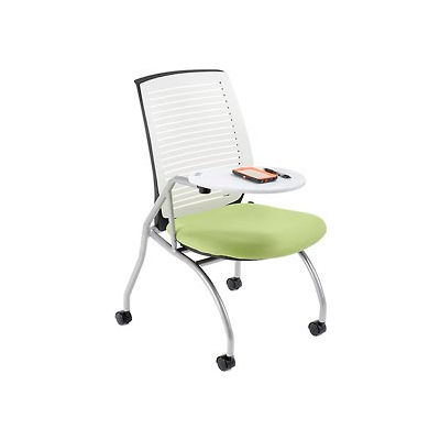 Nesting Shell Chair with Tablet Arm - Fabric - White - Pkg Qty 2