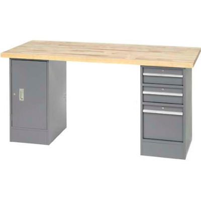 "96"" W x 30"" D Pedestal Workbench W/ 3 Drawers & Cabinet, Maple Butcher Block Square Edge - Gray"
