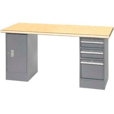"96"" W x 30"" D Pedestal Workbench W/ 3 Drawers & Cabinet, Shop Top Square Edge- Gray"