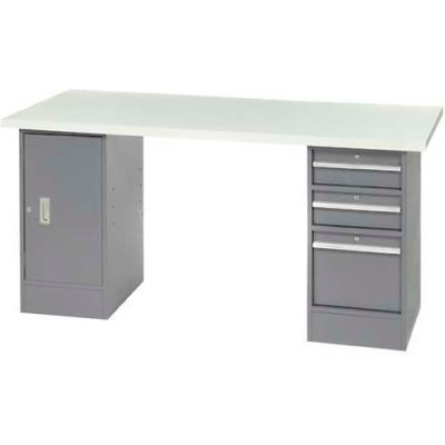 "96"" W x 30"" D Pedestal Workbench W/ 3 Drawers & Cabinet, ESD Laminate Sqaure Edge- Gray"